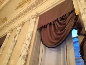 Curtain pelmets and swags become artworks