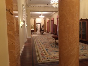 A typically spacious corridor, with original columns and new hand-knotted carpets