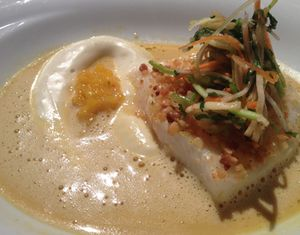 .. and Harald Wohlfahrt's Halibut confit with fine aromatic rice cream, pineapple-mango chutney and Thai curry foam