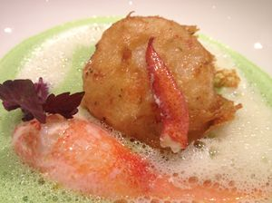Tempura scallop paired with lobster