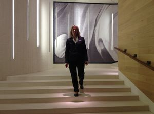 Spa manager Irmgard Kucher descends its catwalk stairs